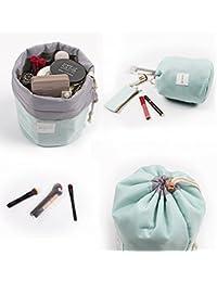 Waterproof Cosmetic Bags Makeup Bag Travel Barrel Cases Kit Organizer Bathroom Storage Carry Case Toiletry Bags Multifunctional Bucket Toiletry Bag Polyester 300T (Blue)