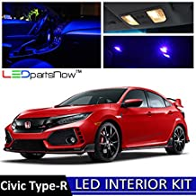 LEDpartsNow 2018 Honda Civic Type-R LED Interior Lights Accessories Replacement Package Kit (8 Pieces), BLUE