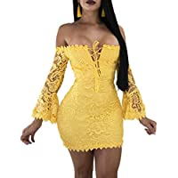 FairBeauty Women's Lace Dress Sexy Off Shoulder Flare Sleeve Floral Bodycon Party Club Mini Dress
