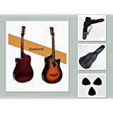 """New 38"""" Beginner Acoustic Guitar With Case, Strap, and Picks Multiple Colors (Sunburst)"""