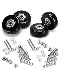 BTSKY Luggage Suitcase Replacement Wheels, Bearing Axles Rubber Swivel Caster Wheels Bearings Repair Kits Screws, Wrench