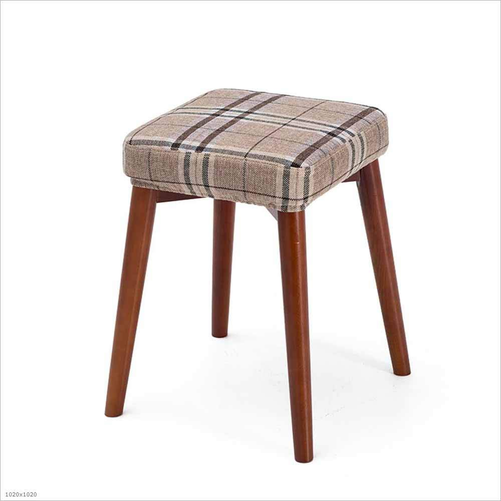 10 SZ JIAOJIAO Solid Wood Stool Fabric Removable And Washable Square Stool Home Upholstery Dressing Stool Stool 33×33×46Cm, 18