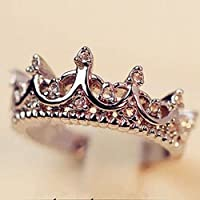 wanmanee Fashion Princess Women Silver Rhinestone Crown Ring Size 5 6 7 8 New (5)