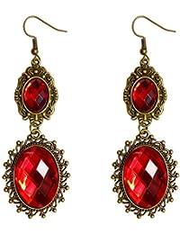 Lolita Red Rhinestone Teardrop Chandelier Dangle Earrings