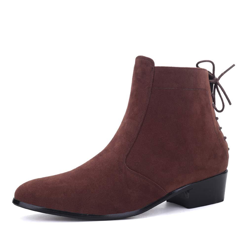 Men ' S schuhe, Trend High-Top Pointed Mens British Zipper Leather Stiefel erhöhte Stiefelies Matte Leder Martin Stiefel Fall Winter New,B,44