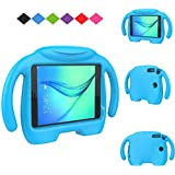 Kids case for Samsung Galaxy Tab A 8.0 (2015), MENZO Light Weight Shock Proof Handle 3D Stand Kids Friendly Case for Samsung Tab A 8-inch Tablet 2015 Released (SM-T350) - Blue