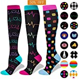 3 Pairs Compression Socks for Nurse(Women)|20-30mmHg Graduated Knee High Stocking |Anti Fatigue & Prevent Swelling in 12h Shift