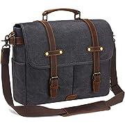 #LightningDeal SOAEON Mens Messenger Bag, Waterproof Vintage Canvas Briefcase, 15.6'' Leather Computer Laptop Bag for Business School Casual Travel