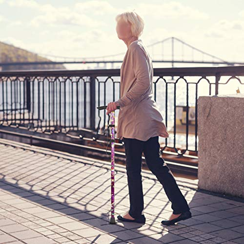 BeGrit Foldable Women Walking Stick Purple Floral Aluminum Cane Lightweight Height Adjustable Walking Aid Mobility Aid Collapsible Walking Stick