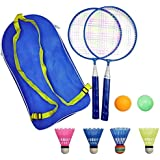 AIKESIWAY Badminton Racket for Children 1 Pair, Nylon Alloy Durable Professional Racquet Set for Children Indoor/Outdoor Sport Game(Including 4 Badminton and 2 Table Tennis)