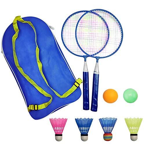 Badminton Racket for Children 1 Pair, Nylon Alloy Durable Badminton Racquet Set for Kids Indoor/Outdoor Sport Game(Including 4 Badminton and 2 Table Tennis) (Blue)