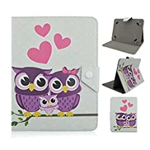 Tsmine RCA 10 Viking Pro RCT6303W87DK Tablet Flip Cartoon Case - Universal Protective Lightweight Premium Kids Cute Owl Printed PU Leather Case Cover, Full of Love Owl Family