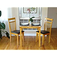 Dining Kitchen Set of 3 pc Square Table and 2 Classic Solid Wooden Chairs Warm in Maple Finish