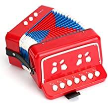 Tosnail Kids Piano Percussion Accordion Musical Toy, Red