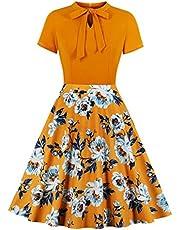 Wellwits Women's Keyhole Tie Neck Floral Print 1950s Retro Vintage Dress
