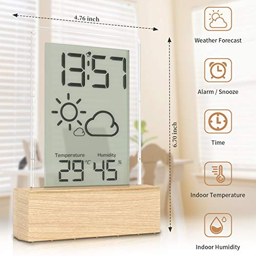 Beautlinks Indoor Großer LCD-Bildschirm Holzmaserung Wetterstation mit Wettervorhersage Innen Temperatur, Luftfeuchtigkeit und Wecker, für Zuhause Büro Schlafzimmer (Inkl. 1 x Metall-Batterie CR2032)