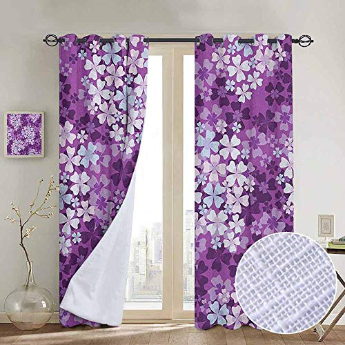 - NUOMANAN Grommet Curtains Flower,Lilacs Illustration Greenery Field Freshness Hydrangea Artistic Design, Purple White Baby Blue,Blackout Draperies for Bedroom Window 52