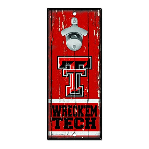 WinCraft NCAA Texas Tech Red Raiders Wood Bottle Opener Sign, 5
