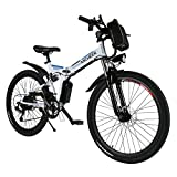 ANCHEER Folding Electric Mountain Bike with 26 Inch Wheel, Large Capacity Lithium-Ion Battery (36V 250W), Premium Full Suspension and Shimano Gear (White)