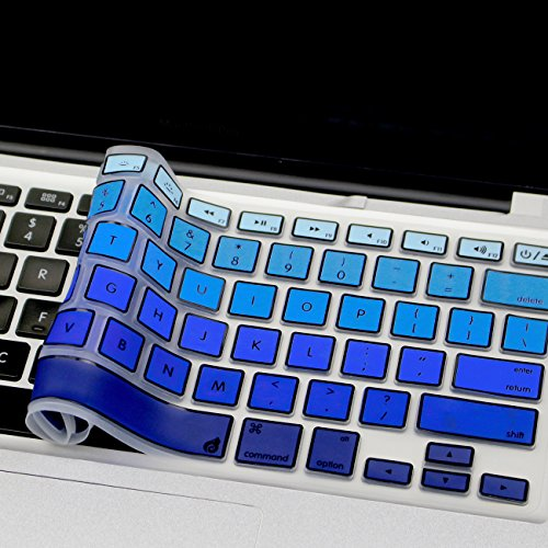 Masino Silicone Keyboard Cover Ultra Thin Keyboard Skin for MacBook Air 13 MacBook Pro with Or Without Retina Display 13 15 17 Wireless Bluetooth Keyboard MC184LL/B (Frame- Gradient Blue)