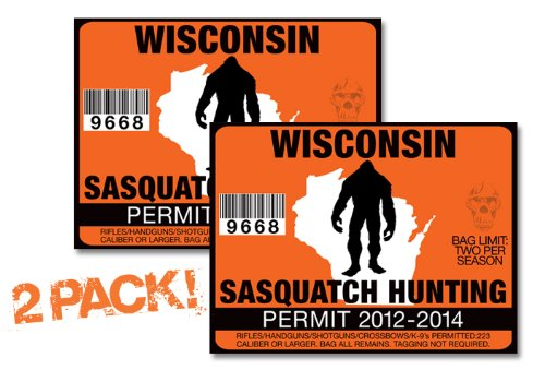 Wisconsin-SASQUATCH HUNTING PERMIT LICENSE TAG DECAL TRUCK POLARIS RZR JEEP WRANGLER STICKER 2-PACK!-WI