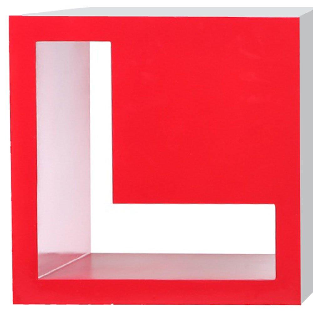 2er Set Design Wand Regale Wohn Schlaf Zimmer Raum Trenner Ablagen MDF L Form F/ächer Hochglanz rot