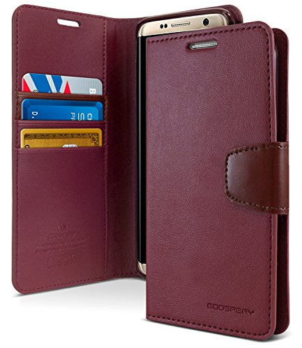 Galaxy S8+ [Plus] Case, [Wallet Case] GOOSPERY Sonata Diary [Impact Resistant] Soft PU Leather Case TPU Casing [Card & Cash Holders] Flip Stand Cover for Samsung Galaxy S8 Plus (Wine) S8P-Son-WNE
