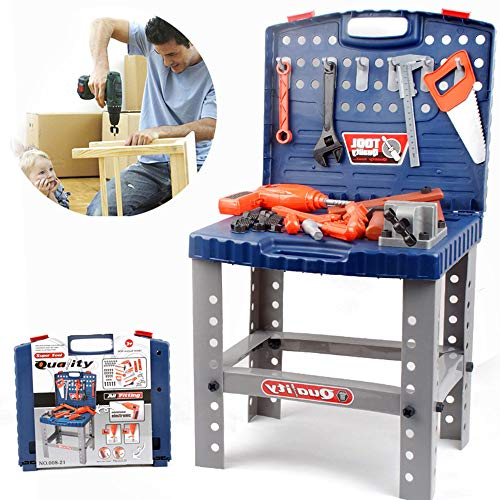 (Liberty Imports Toy Tool Workbench for Kids Pretend Play - Construction Workshop Toolbench STEM Building Toys with Realistic Tools and Electric Drill)