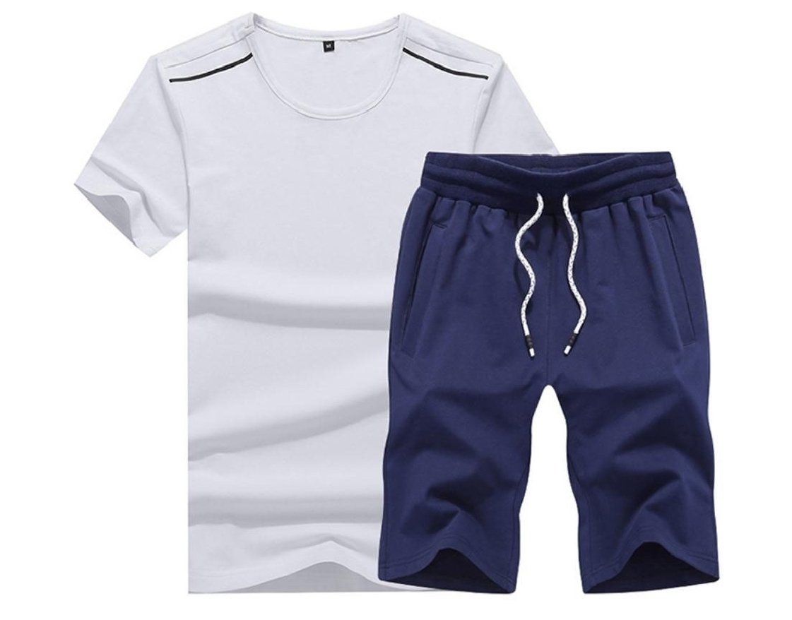 FieerMen Short-Sleeve Casual Athletic Oversized Drawstring Sport Tracksuit