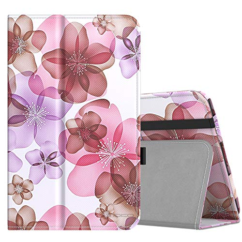 MoKo Case for Samsung Galaxy Tab A 8.0 2018 SM-T387, Premium Folding Stand Slim Smart Cover Case Compatible for Galaxy Tab A 8.0 Inch 2018 Release Tablet - Floral Purple