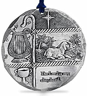 "product image for Wendell August ""The Lord is My Shepherd Religious Ornament -Hand-Hammered Aluminum Hanging Ornament with Baby Lamb and North Star -Made in USATree Decoration, 4.4"" x 3.8"""