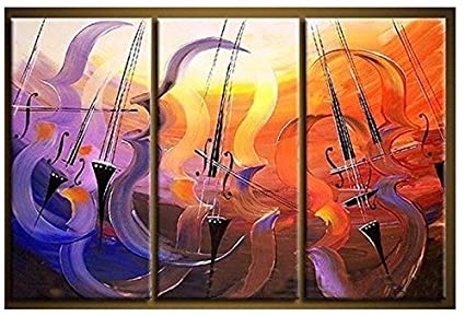 OME&MEI 3 Piezas De Cuadros Pintados A Mano Abstractos Pinturas Al Óleo De La Guitarra Pared