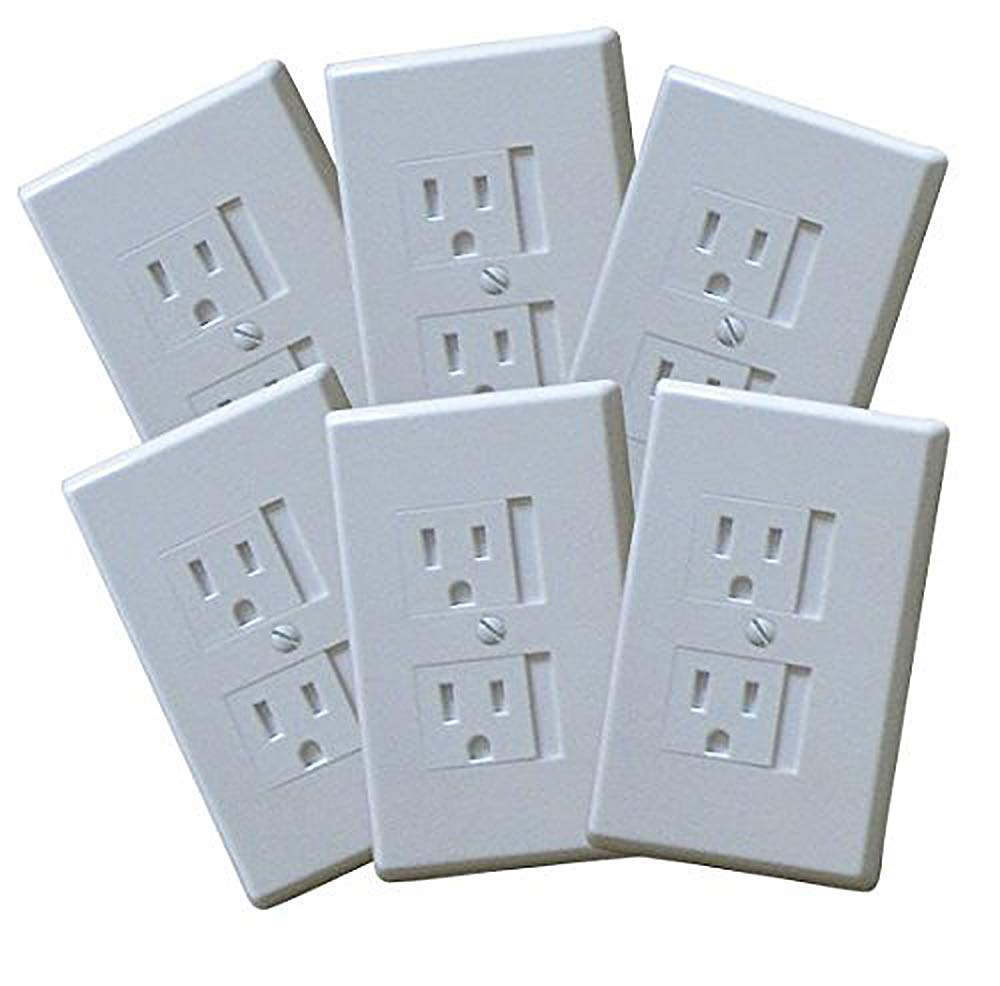 12 -Pack Self-Closing Babyproof Outlet Covers - An Alternative To Wall Socket Plugs for Child Proofing (Standard - 1 Screw, White)
