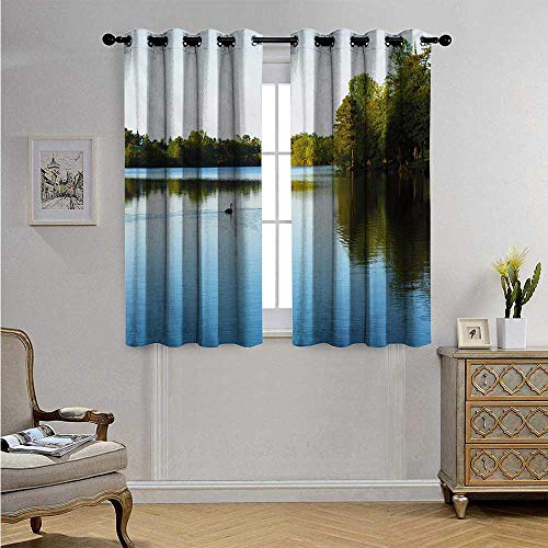 OutdoorWaterproofWindowCurtainView from Carate Urio Town Lake Como Alps Italy Panorama European Rural Countryside Blackout Drapes W55 x L63(140cm x 160cm) Blue Green