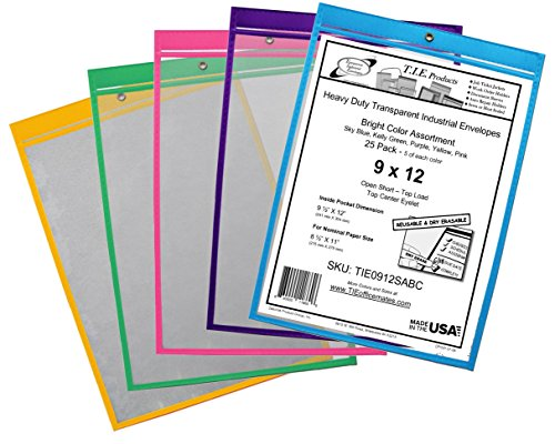 Shop Ticket Holders - TIE Office-Mates | 9x12 | Dry Erasable | Assorted Colors | Package of 25 (0912SABC)