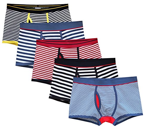Mens Underwear Trunks - CHUNG Men's X-Temp Cotton Boxer Brief Underwear Fashion Stripe Assorted Pack of 5, M