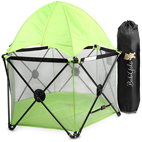 Baby Pack and Play Playpen Yard: Portable Travel Play Pen for Babies (Green - with Canopy)