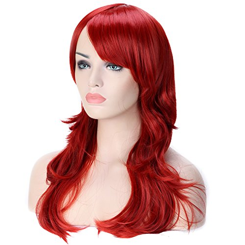 Anime Cosplay Synthetic Full Wig with Bangs for Women Girls 23'' Long Layered Wave Japanese Kanekalon Heat Resistant Fiber 19 Colors (dark orange)