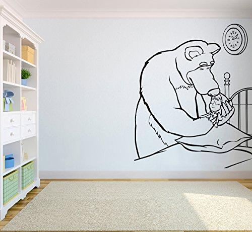 - Bear Puts Masha Sticker Masha & The Bear Wall Vinyl Decal Home Interior Graphic Ghild Room Applique Nursery Design Art m&b19