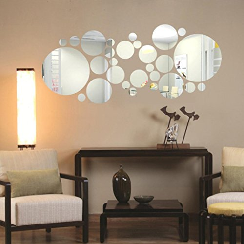 Feite Round Acrylic Mirror Background Wall Sticker Bedroom Decoration
