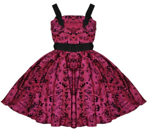 Hell coniglietto Tattoo floccata Emo Vintage da donna rosa sera vestito extra-small UK 8