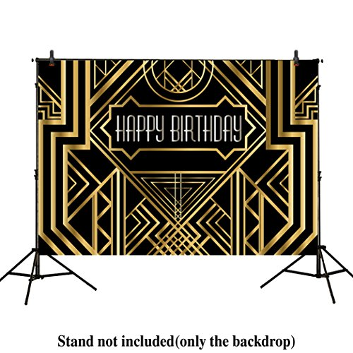 Allenjoy 8x6ft photography backdrops Great Gatsby Birthday Adults children party black and gold golden banner photo studio booth background newborn baby shower (Great Gatsby Birthday)
