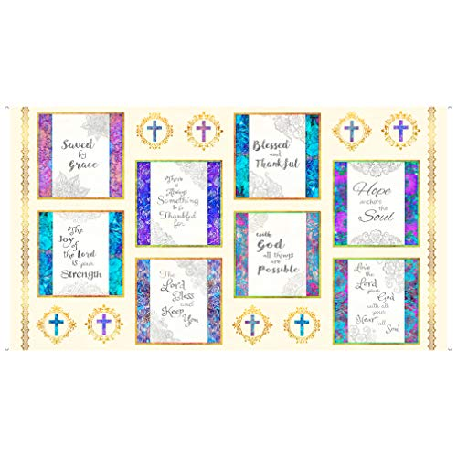 QT Fabrics Faith Religious Picture Patches Square 24'' Panel Fabric, Light Cream