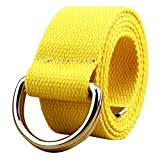 WUAI Canvas Belt Adjustable Belts No Buckle Tactical Breathable Military Waistband Belts(Yellow,One Size)