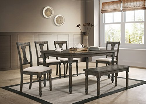 Roundhill Furniture T402-C402-C402-CB402 Ashton 6-Piece Wood Dining Set: Table, Four Chairs, Bench, Brown