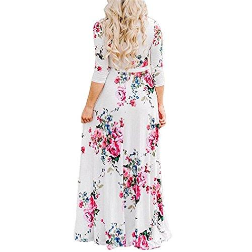 ❤️ Vestido Camisero Bohemia para Mujer,Vestido de Moda de Manga Larga con Cuello en V Manga Mini Vestido de Moda Absolute Blanco A