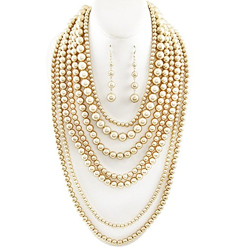 Affordable Wedding Jewelry Statement Beaded Layered Strand Metallic Simulated-Pearl Bead Long Necklace Set Gift Bijoux