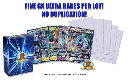 5 Random Pokemon GX Ultra Rare Cards! No Duplication! All Have 170 HP or More! 5 Sleeves to Protect Cards! Includes Golden Groundhog Storage Box!