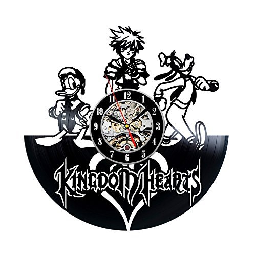 (Kingdom Hearts Vinyl Record Wall Clock - Decorate your home with Modern Large Disney Art - Gift for kids, girls and boys - Win a prize for a feedback)