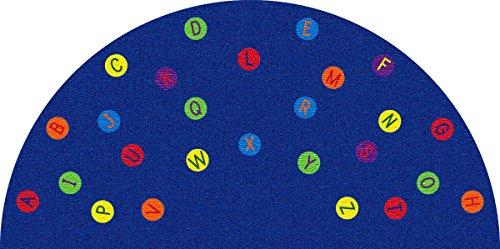 Kid Carpet FE82243A Alphabet Dots Semicircle Nylon Area Rug, 12' x 6' , (Dots Kids Rug)